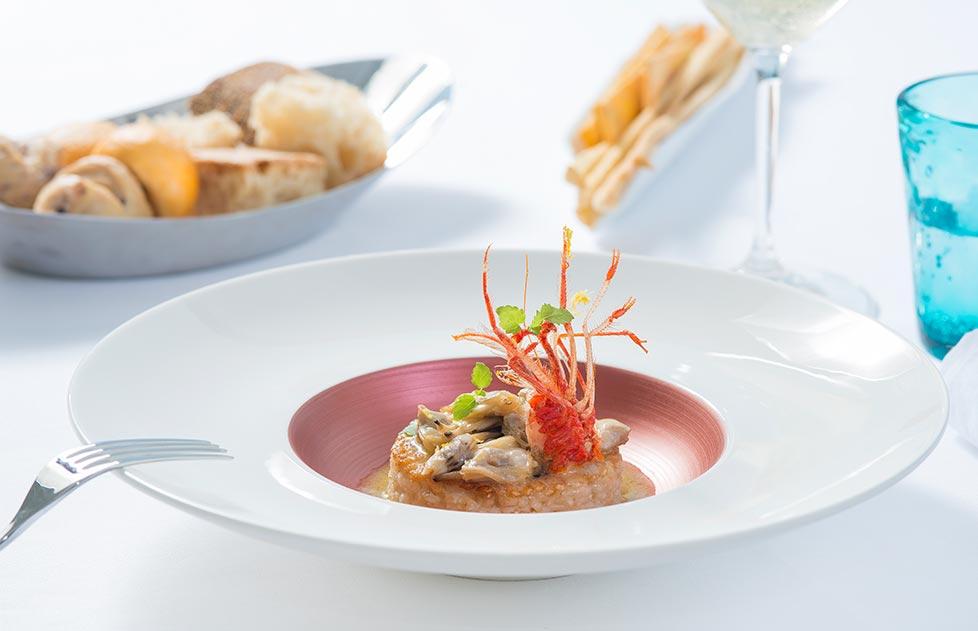 dettaglio piatto primo di pesce franco's restaurant vista mare